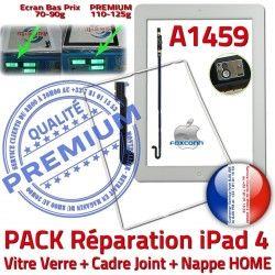 HOME Apple Réparation PACK iPad4 Adhésif Nappe Contour Joint Vitre Cadre Bouton Blanche Tablette KIT Precollé Tactile Verre Plastique B A1459