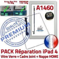 Tactile Contour Bouton Plastique PACK Precollé A1460 Réparation Cadre Nappe Tablette iPad4 Verre B KIT Vitre Apple HOME Blanche Joint Adhésif