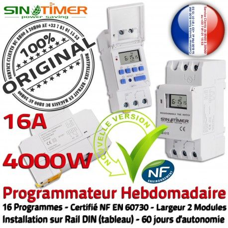 Contacteur SINOTimer 16A Programmateur Electronique Hebdomadaire Heures 4000W Automatique DIN Creuses Jour-Nuit Rail 4kW Chauffe-Eau