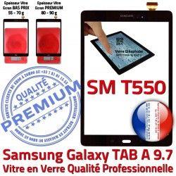 9.7 Samsung TAB-A Ecran TAB T550 Noire N Supérieure Assemblée PREMIUM Adhésif SM A SM-T550 Verre Qualité Prémonté Vitre Tactile Galaxy Noir