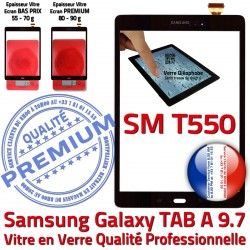 SM Tactile Noir Supérieure SM-T550 9.7 Ecran Galaxy Samsung T550 Assemblée Adhésif N Assemblé Noire PREMIUM Verre TAB-A Vitre Qualité