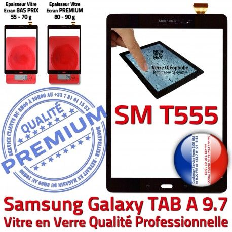Samsung Galaxy TAB A SM-T555 N SM T555 Supérieure Noire Noir Assemblée Verre Prémonté TAB-A Ecran Tactile PREMIUM Adhésif 9.7 Qualité Vitre