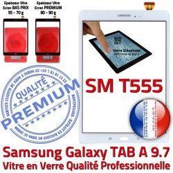 Qualité B TAB Assemblée Blanche TAB-A Supérieure Verre Samsung SM-T555 A Prémonté Ecran Vitre PREMIUM Galaxy 9.7 Blanc SM Tactile T555 Adhésif