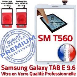 Verre PREMIUM Assemblée Ecran TAB-E Qualité B T560 Adhésif Samsung Assemblé Vitre SM Blanc Blanche 9.6 Supérieure Galaxy SM-T560 Tactile