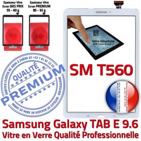 Samsung Galaxy TAB E SM-T560 B TAB-E Assemblée Blanche Supérieure SM Vitre T560 Prémonté Tactile Verre 9.6 Ecran Blanc PREMIUM Adhésif Qualité