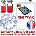 Samsung Galaxy TAB E SM-T565 B Blanc Assemblée SM Blanche Qualité 9.6 Vitre Tactile Prémonté Verre TAB-E Ecran PREMIUM Supérieure T565 Adhésif