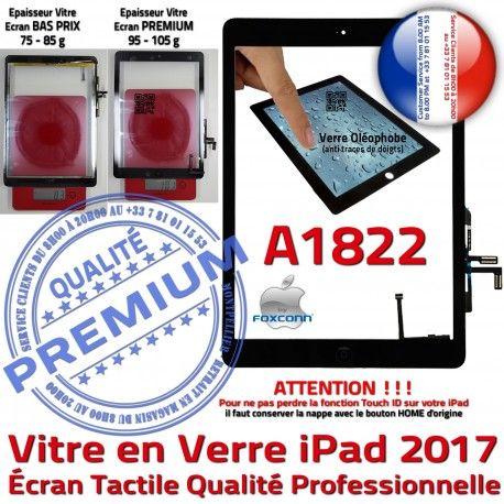 iPad AIR A1822 Noir Nappe Verre HOME Qualité IC Adhésif Ecran Tactile Vitre Tablette Fixation Oléophobe Monté Caméra Réparation