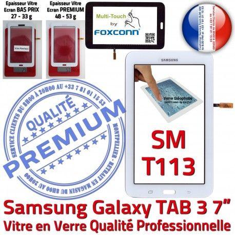 Samsung Galaxy TAB 3 SM-T113 B 7 Assemblée PREMIUM Tactile Qualité Vitre Prémonté Adhésif en Ecran Supérieure SM Verre T113 LCD Blanche TAB3
