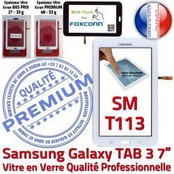 Ecran Tab3 Samsung Adhésif en Blanc Qualité SM Assemblée T113 TAB3 Galaxy PREMIUM Verre LITE Tactile LCD Blanche Prémonté Vitre Supérieure SM-T113