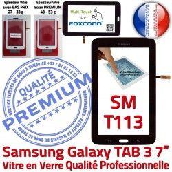en SM-T113 LCD Ecran N Samsung 7 Qualité Tactile Assemblée Tab3 Vitre Adhésif Verre A++ Prémonté Galaxy Supérieure PREMIUM Noire TAB3