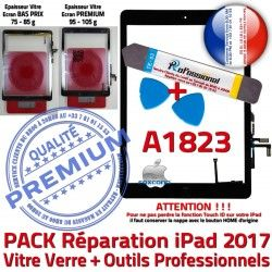 HOME Adhésif Outils Bouton Oléophobe PREMIUM N Qualité PACK A1823 Tactile Démontage Vitre Réparation KIT Noire Verre Precollé AIR iPad