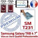 Samsung Galaxy SM-T231NZWAXEF B Adhésif Assemblée Prémonté Tactile Blanche Qualité LCD TAB4 Vitre Supérieure Verre Ecran PREMIUM