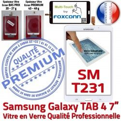 Samsung 7 Vitre Supérieure Verre TAB4 Galaxy Assemblée Ecran B Qualité Tactile Adhésif Blanche PREMIUM inch LCD Prémonté SM-T231