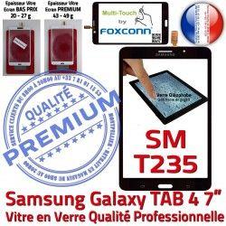 Noire Assemblée Ecran T235 SM-T235 4 Samsung TAB TAB4 Vitre Tactile Galaxy Adhésif Supérieure Prémonté LCD 7 PREMIUM Qualité Verre N SM inch