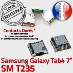 Tab Micro souder à Connecteur Galaxy de Chargeur Prise 7 Pins SM Dock USB Dorés charge TAB 4 ORIGINAL inch Samsung T235 Connector