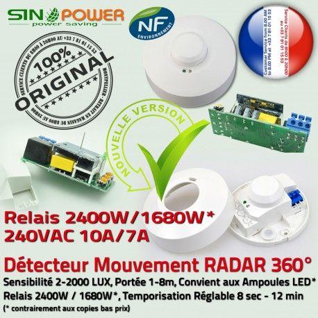 Capteur Hyperfréquence SINOPower 360° de Luminaire Micro Détection Micro-Onde Mouvement HF LED Ampoules Automatique Éclairage Relais Radar
