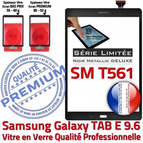 Samsung Galaxy TAB-E SM T561 N Assemblé Noir Qualité Noire Ecran Vitre Assemblée Metallic Adhésif SM-T561 9.6 Tactile Metal Verre PREMIUM