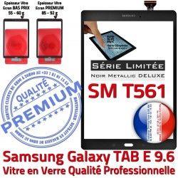 N Qualité Samsung Noire Metallic Verre Metal PREMIUM SM Assemblée 9.6 Tactile Ecran Noir Adhésif Prémonté E SM-T561 TAB-E Galaxy TAB T561 Vitre